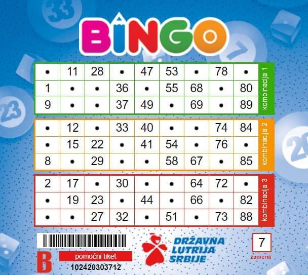 primjer listica Bingo srbije